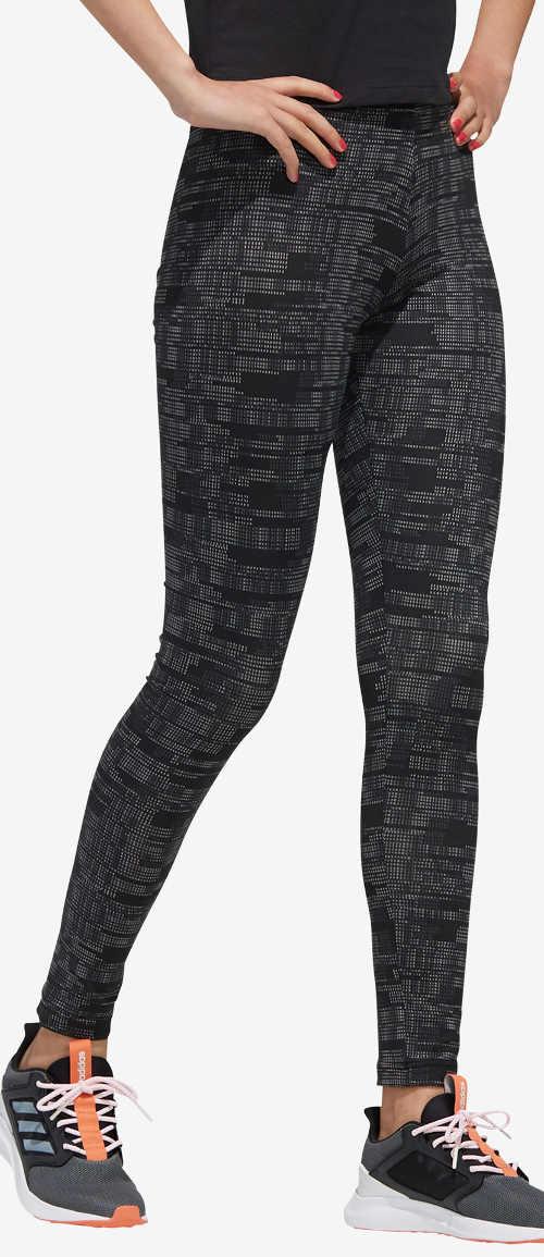 Černo-šedé legíny na cvičení Adidas