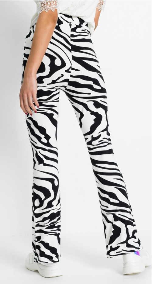 Černobílé dámské legíny se zebra potiskem