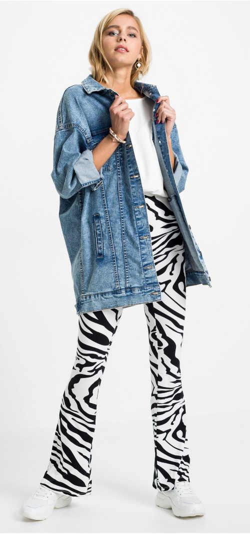 Vzorované dámské kalhoty motiv zebry
