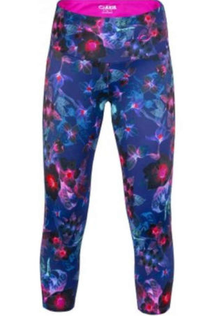 Barevné dámské fitness legíny s vyšším pasem a 3-4 délkou nohavic
