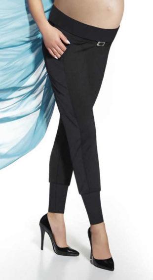Těhotenské legíny s páskem a kapsami v černém elegantním provedení