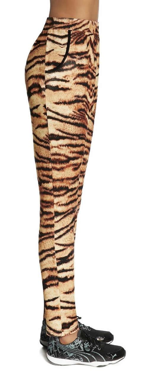 Dámské sportovní legíny s potiskem tygří kůže