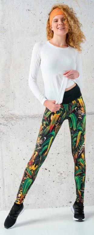 Pestrobarevné dámské sportovní běžecké legíny