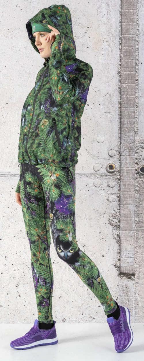 Zateplené legíny na nordic walking s květinovým potiskem