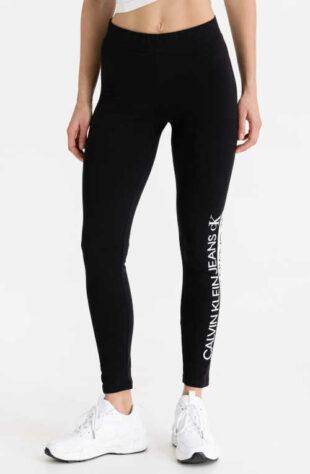 Dlouhé černé legíny Calvin Klein s výrazným nápisem na nohavici