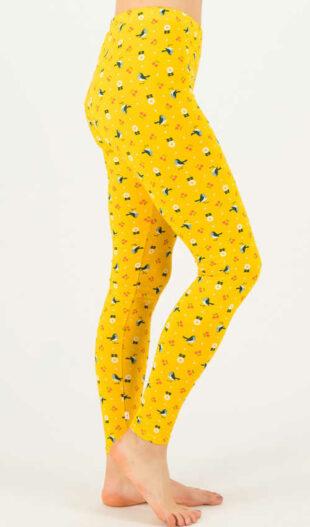 Žluté vzorované dámské dlouhé legíny z kvalitního materiálu