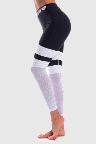 Kompresní sportovní dámské legíny v černo-bílém provedení