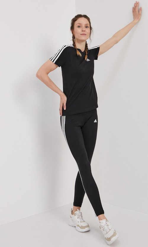 černé bavlněné legíny Adidas